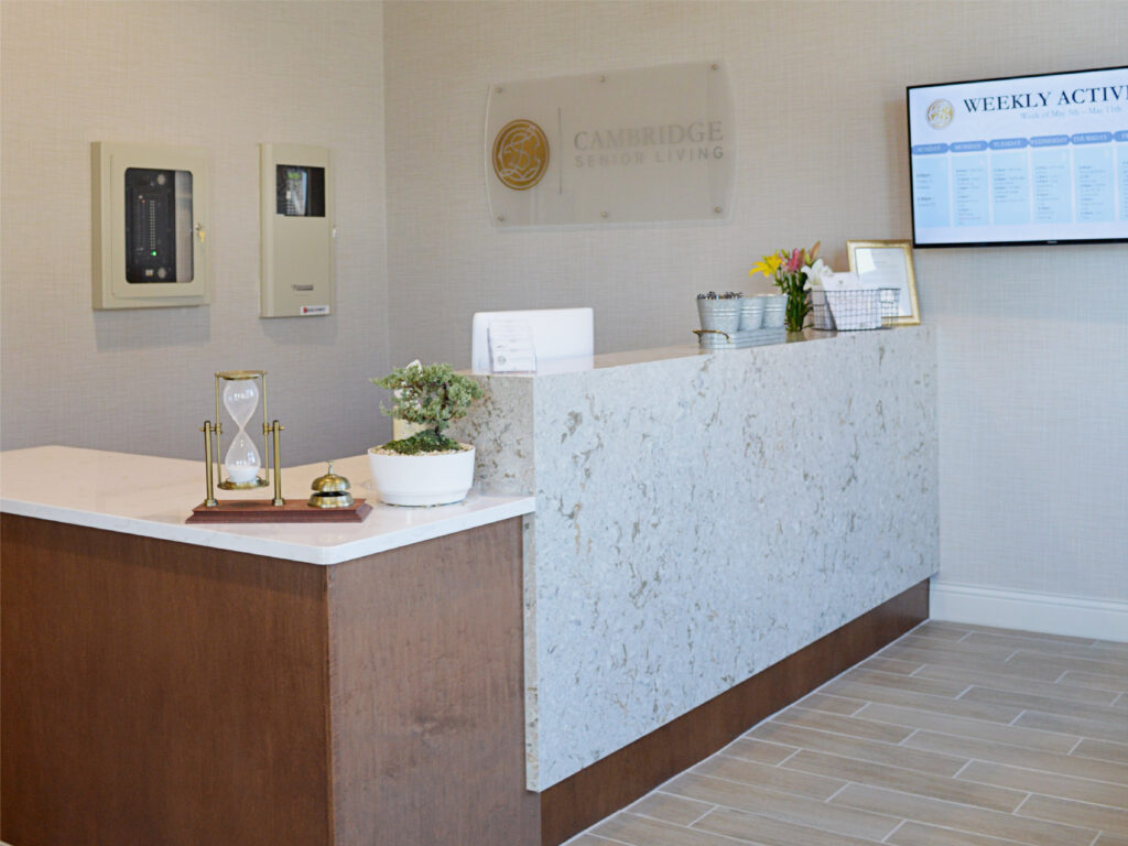 Front Desk and Entryway at Cambridge Senior Living